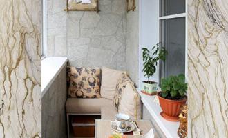 Отделка балкона под натуральный камень фото.